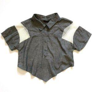 NEW Nicholas K Top Shirt S Gray Mesh Panel NWOT